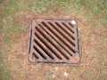 The manhole cover with bird poo, I mean