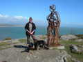 Mrs Dusty & Tin Man above steps from Llanbedrog beach